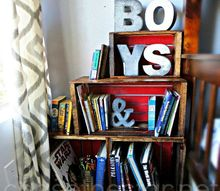 wood crate bookcase, bedroom ideas, repurposing upcycling, shelving ideas, storage ideas, DIY Wood crate bookcase