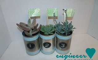 diy tin can planters, container gardening, crafts, repurposing upcycling, succulents
