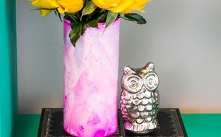 nail polish marbled vases, crafts
