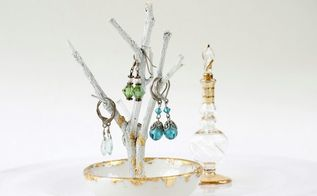 gold foil twig jewelry tree, crafts, organizing