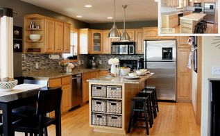 going gray gray kitchen, diy, home decor, how to, kitchen backsplash, kitchen design, kitchen island, Before After New granite countertops a DIY tile backsplash Riviera Beach from The Tile Shop stainless steel industrial pendant lighting over the island and the finishing touch gray walls
