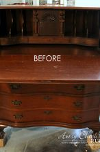 secretary desk makeover with duck egg blue and 3 colored waxes, chalk paint, painted furniture