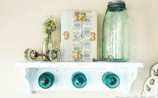 antique glass insulator coat rack shelf, home decor, repurposing upcycling, shabby chic, shelving ideas, wall decor