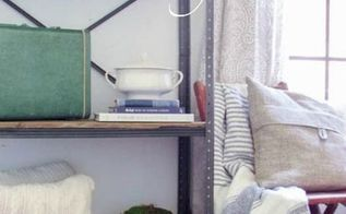 garage shelf makeover into romantic industrial beauty, diy, living room ideas, painted furniture, shelving ideas, storage ideas, woodworking projects