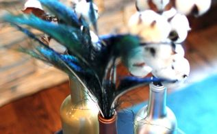metallic wine bottle vases, crafts, repurposing upcycling, seasonal holiday decor
