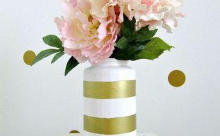 5 minute diy gold striped vase, crafts