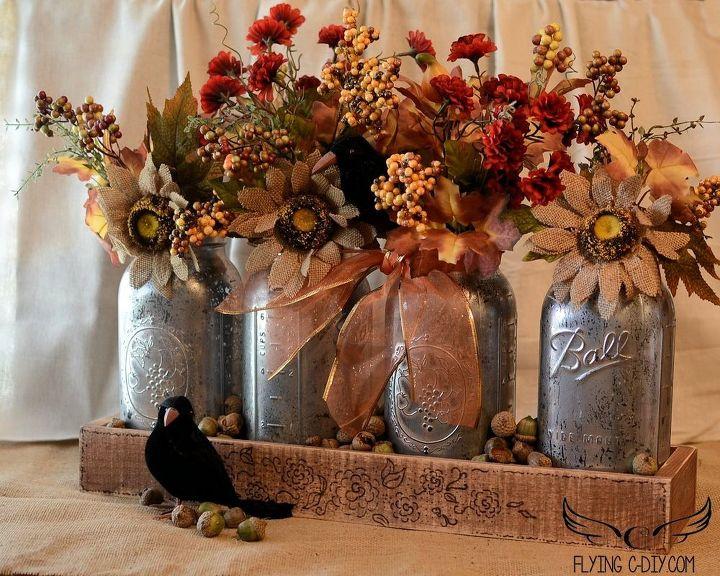 Thanksgiving Decorations Using Mason Jars : Mercury mason jar centerpiece hometalk