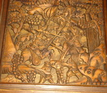 q seeking information on this carved table set, furniture id, painted furniture, top carving on one of the end tables