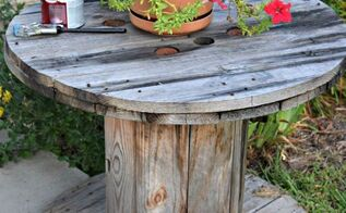 1 step white washed spool table, outdoor furniture, repurposing upcycling