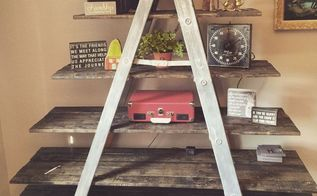 old wooden ladder transformed into a country chic shelf, diy, repurposing upcycling, shelving ideas, woodworking projects