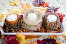 easy fall candle centerpiece, crafts, decoupage, seasonal holiday decor