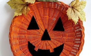 wicker paper plate holder jack o lantern door hanger, crafts, halloween decorations, repurposing upcycling, seasonal holiday decor
