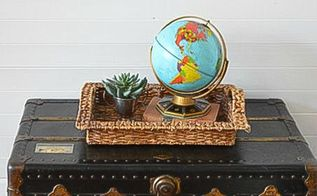 quick and easy vintage trunk turned coffee table, painted furniture, repurposing upcycling