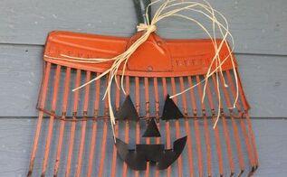 rake head pumpkin jack o lantern, crafts, halloween decorations, repurposing upcycling, seasonal holiday decor