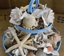 plaster dipped silk flowers coastal arrangement, crafts