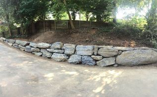boulder retaining wall, concrete masonry, landscape, ponds water features