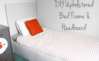 simple diy upholstered bedframe headboard, bedroom ideas, diy, how to, woodworking projects