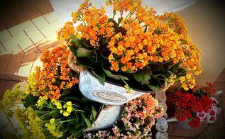 using old metal bucket planters idea, container gardening, gardening, repurposing upcycling