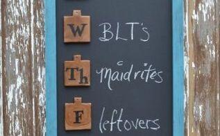 upcycled menu board, chalkboard paint, crafts, organizing, repurposing upcycling