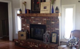 wood grain and pretty stain making a chunky stained fireplace mantl, fireplaces mantels, living room ideas, painting