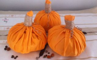 easy fabric pumpkin, crafts, seasonal holiday decor