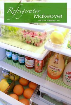 refrigerator makeover, appliances, organizing
