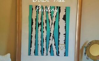 Diy fun challenge birch log painting hometalk for Diy birch tree wall mural