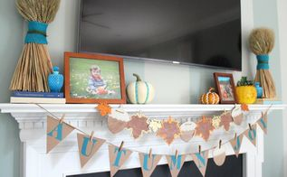 easy fall mantel from the target dollar spot, crafts, fireplaces mantels, seasonal holiday decor