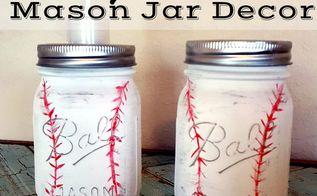 vintage baseball mason jar bathroom decor, bathroom ideas, crafts, home decor, mason jars
