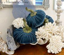 2015 fall home tour with coastal style, home decor, seasonal holiday decor, Blue velvet pumpkins and Coral
