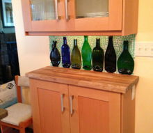 slumped bottles become a backsplash, kitchen backsplash, kitchen design, repurposing upcycling
