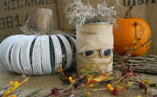 mummy treat cans from the recycling bin, crafts, halloween decorations, repurposing upcycling, seasonal holiday decor