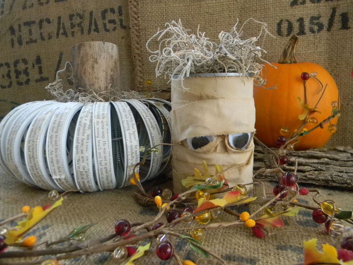 mummy treat cans from the recycling bin crafts halloween decorations repurposing upcycling - Recycled Halloween Decorations