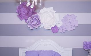 diy large paper flowers wall decor and above bed, crafts, how to, wall decor