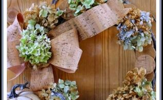 diy fall decorations hydrangea and cork wreath, crafts, hydrangea, repurposing upcycling, seasonal holiday decor, wreaths