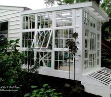 repurposed windows greenhouse, diy, gardening, home improvement, repurposing upcycling, woodworking projects, Exterior Repurposed Windows Greenhouse
