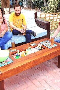 outdoor table with ice cooler box, diy, how to, outdoor furniture, rustic furniture, woodworking projects