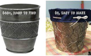 diy custom antiqued pewter trash can, crafts, repurposing upcycling