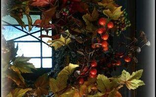 turn a christmas wreath into a fall wreath, crafts, repurposing upcycling, seasonal holiday decor, wreaths
