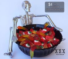 diy skeleton halloween serving dish for less than 5, crafts, halloween decorations, seasonal holiday decor