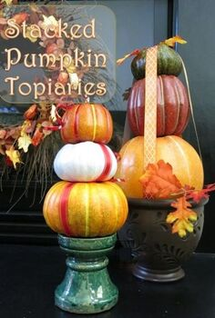 how to make a stacked pumpkin decoration, crafts, halloween decorations, how to, seasonal holiday decor, thanksgiving decorations