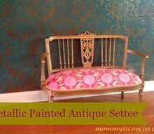 gold metallic painted antique settee, painted furniture, repurposing upcycling