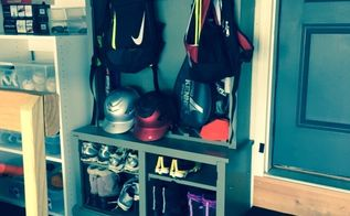 old gun cabinet turned sports cabinet, painted furniture, repurposing upcycling, storage ideas