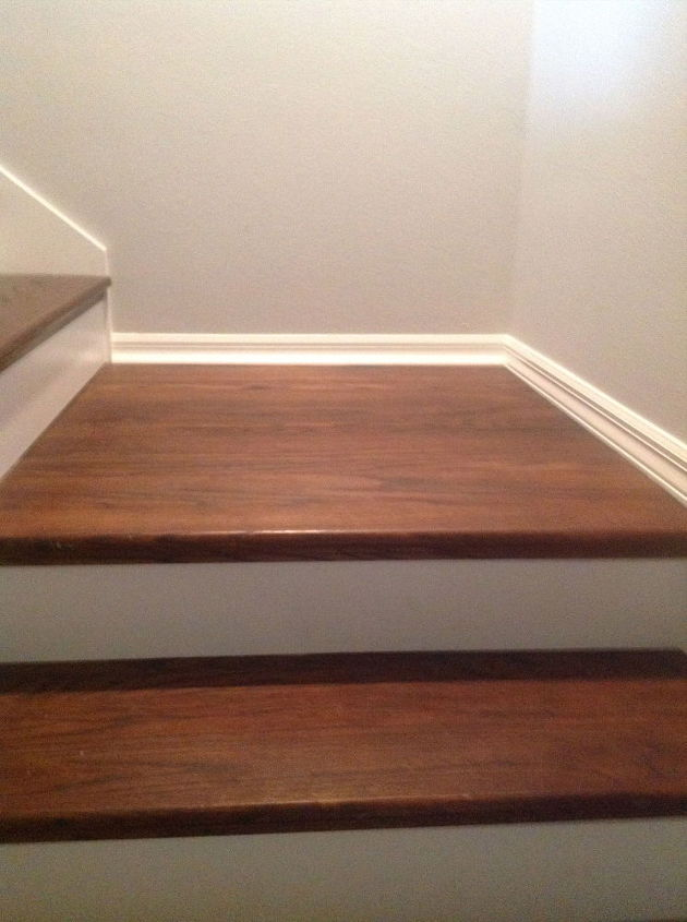 From carpet to wood stairs redo cheater version for Diy wood stairs