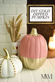 chic coral gold glam fall tour falltourbloghop, crafts, seasonal holiday decor, Simple DIY Gold Dipped Pumpkin