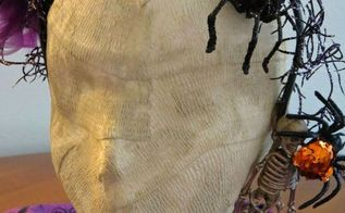 diy creepy mummy head, crafts, halloween decorations, seasonal holiday decor