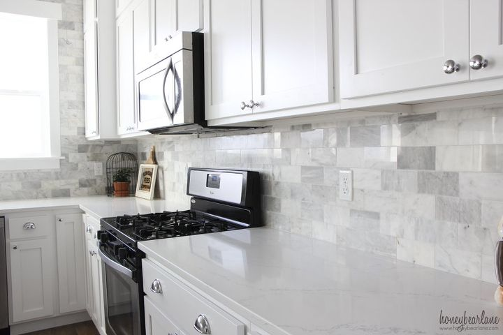 Diy Marble Backsplash In The Kitchen Diy Kitchen Backsplash Kitchen Design Tiling