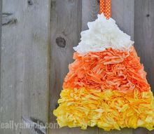 coffee filter candy corn, crafts, halloween decorations, repurposing upcycling, seasonal holiday decor