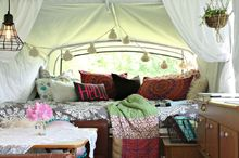 boho inspired pop up camper re do, home decor, outdoor living