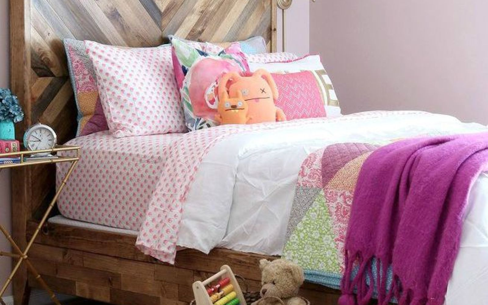 s 11 designer decor looks you can make on the cheap, crafts, home decor, Chevron Reclaimed Bed Frame West Elm